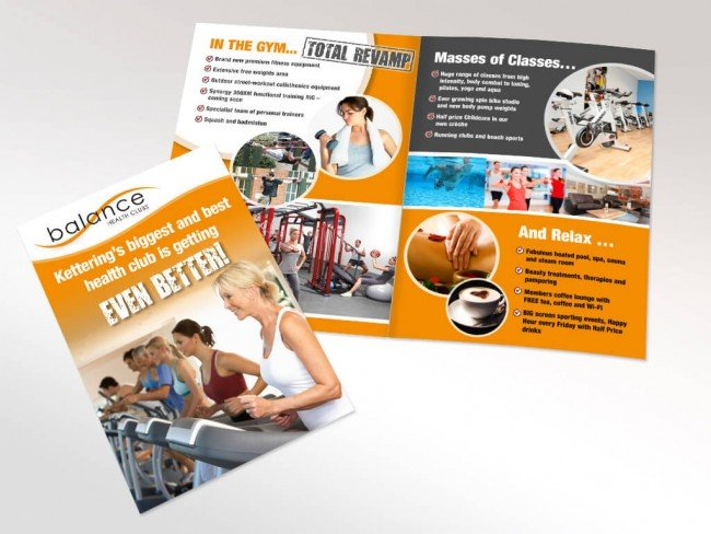 A5 Leaftlet for Balance Health Club Kettering