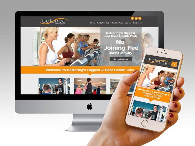 Responsive website design for Balance Health Club