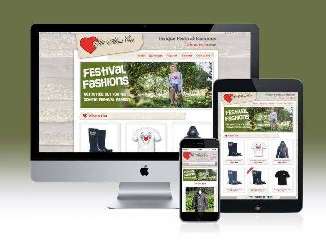 Website Design for All about Eve Shopping