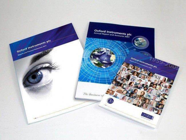 Annual Report design for Oxford Instruments